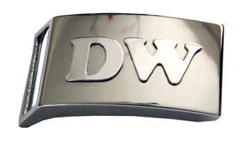 Devanet solid silver initials onto belt buckle